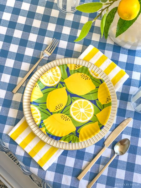 Bright and cheery summer table setting! Melamine lemon plates are super cute for outdoor dining! Tablecloth and other outdoor essentials are linked too. (home decor ideas)  #LTKunder100 #LTKunder50 #LTKhome