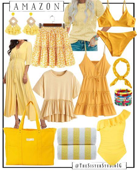 Yellow summer finds for summer! Swimsuits, bikinis, beach accessories, dresses, etc from Amazon.     http://liketk.it/3fBYx @liketoknow.it #liketkit #LTKswim #LTKtravel #LTKunder50