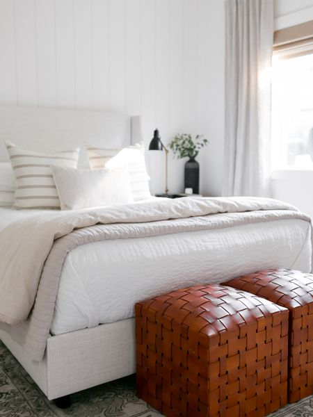 Bedroom inspiration!  I love this Lulu & Georgia upholstered bed mixed with the affordable Target bedding and leather ottomans.    You can instantly shop my looks by following me on the LIKEtoKNOW.it shopping app http://liketk.it/3hCdd #liketkit @liketoknow.it #LTKstyletip #LTKhome @liketoknow.it.home