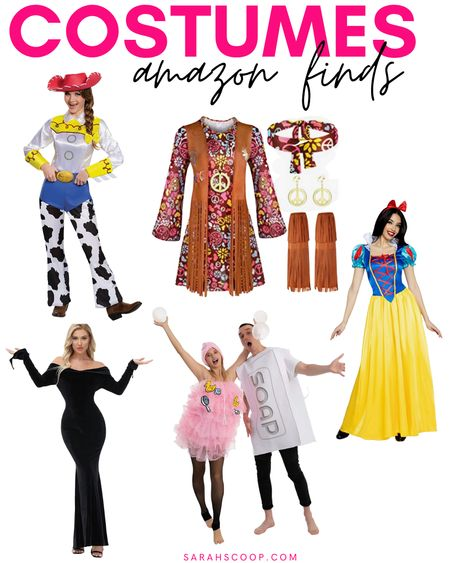 Halloween is coming up so check out some of these super cute costumes for women and couples! 👻🎃🍬  #Jessie#toystory#hippie#70s#peacesign#SnowWhite#Disney#Disneyprincess#Princess#Soap#Loofa#couplescostume#Morticia#MorticiaAddams#AddamsFamily#Halloween#Halloweencostumes#Costumes#Amazon#Amazonfinds  #LTKHoliday #LTKstyletip #LTKSeasonal