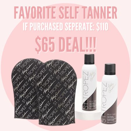 My favorite St Tropez self tanner is on sale on QVC! If you were to buy separate, it would be $110, but this bundle is only $65! 2 bottles and 2 mitts! Such a great self tanner deal! #selftanner #sttropez #qvc #ashleygraham  #LTKbeauty #LTKunder100 #LTKsalealert