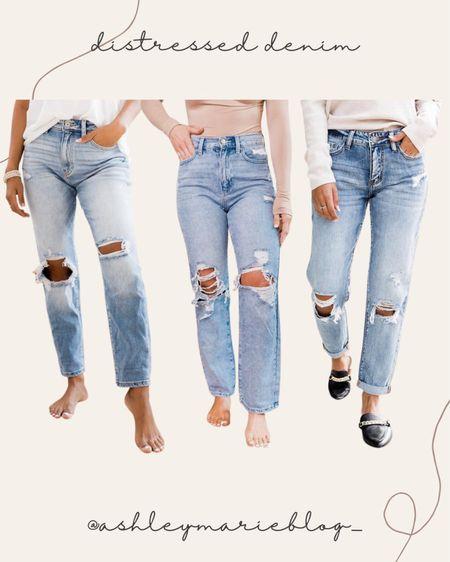 Pink Lily distressed denim on sale right now! Dad jeans, mom jeans, wide leg jeans, straight leg jeans.   #LTKSeasonal #LTKstyletip #LTKSale