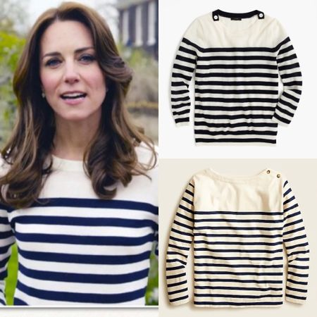 JCrew striped sweater dupe (Kate also wearing JCrew) #lookforless #boatneck #top #shirt   #LTKstyletip