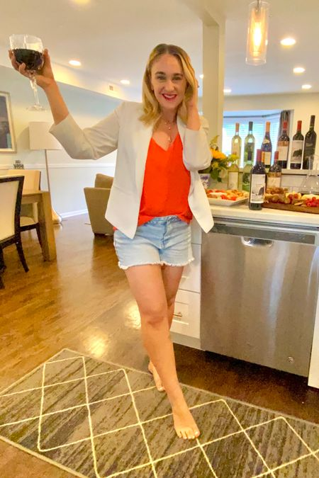 Revolve red cami and pink Lilly white summer blazer with madewell light wash jean shorts. Day to nighttime look for summer. http://liketk.it/3jqal #liketkit @liketoknow.it #LTKunder50 #LTKworkwear #LTKstyletip You can instantly shop my looks by following me on the LIKEtoKNOW.it shopping app