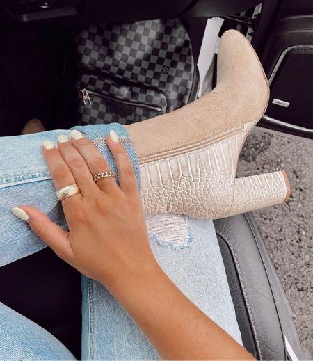 Super cute boots! 😍😍    Booties, high heeled boots, nude boots, snake print boots, fall boots, fall outfit inspo, cute booties, snake print shoes  #LTKsalealert #LTKunder100 #LTKstyletip