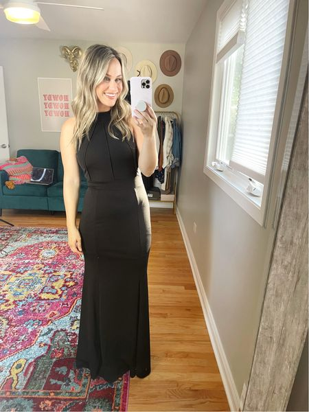 Wedding Guest Dress // I can't get over this dress, its gorgeous! I can't believe its an amazon dress and under $40!  A perfect winter or fall wedding guest dress. Wearing a medium and my black heels are another amazon find!  #LTKwedding #LTKshoecrush #LTKunder50