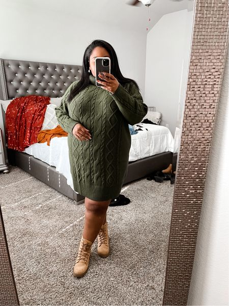 Plus size fall outfit | cable knit sweater dress, fall dresses, green dress, plus size fall dress, Walmart finds, Walmart fashion.  #LTKcurves #LTKstyletip #LTKunder50