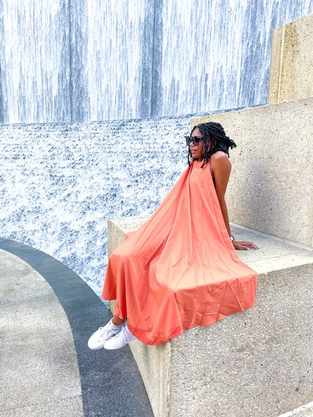 Quay sunglasses + Orange dress + Adidas Tennis shoes   #LTKstyletip #LTKunder100 #LTKSeasonal