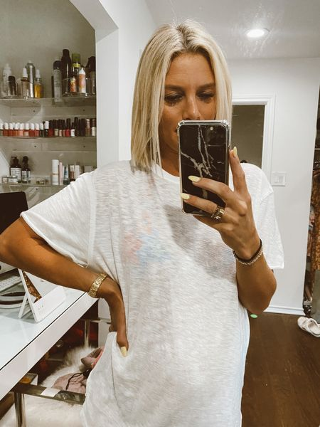 love a good oversized cozy tshirt! This brand has so many good ones right now under $50. Wearing an XS here 🤍  #LTKunder50 #LTKbump