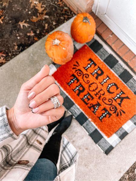 Halloween Buffalo check doormat and pumpkin decor   #LTKunder50 #LTKSeasonal