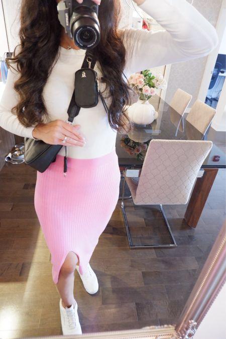 Pink fall outfits  Pink ribbed skirt  White ribbed top  BVITAL Steve Madden crossbody  Pink fedora   #LTKSeasonal #LTKunder100 #LTKstyletip