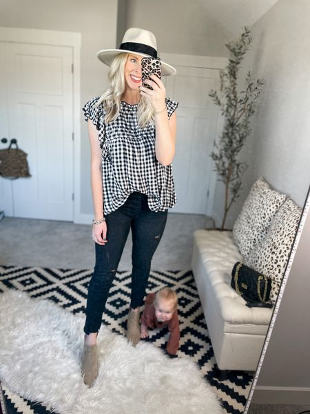 Walmart outfit  Gingham top- m, would be better in a small  Jeans- go with smaller size    #LTKunder50 #LTKsalealert #LTKstyletip