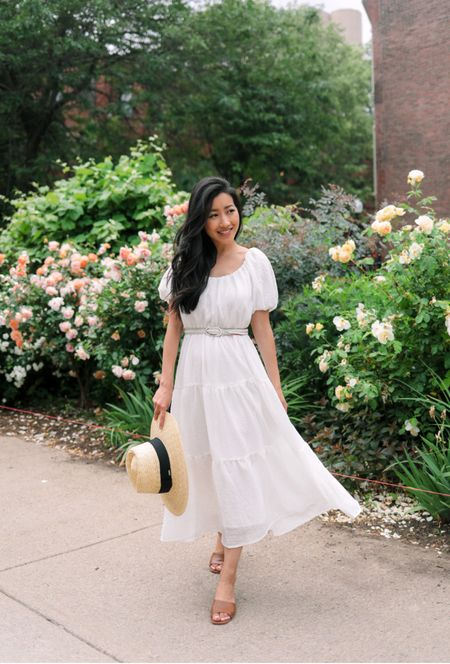 Styling this summer dress from @nordstrom with these on trend sandals and an adjustable wide brim hat. Dress also comes in black and the white would be lovely for a bride at a bridal shower or for a baby shower guest!   •white ASTR dress size xs Note: fit is large, see my blog post for details on the alterations I made to make this more petite friendly  •Chinese Laundry brown slide sandals size 5 •Brixton woven straw hat size small   #LTKshoecrush #LTKunder100 #LTKSeasonal #nordstrom http://liketk.it/3hCzL #liketkit @liketoknow.it