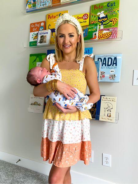 Floral tiered dress, color block floral print dress (size: XS) with lele Sadoughi headband! Baby nursery bookshelves, clear acrylic nursery bookshelves   #LTKbaby #LTKhome #LTKfamily