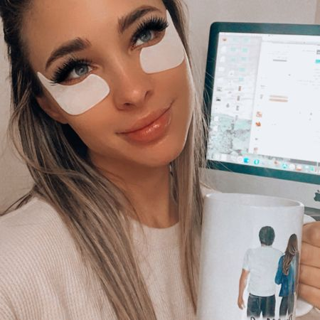 """This is what a Saturday looks like at my house! Early mornings with my """"extra"""" skincare routine and my #eyemask strips oh and let's not forget #coffee ❤️ I'm obsessed with my new coffee mug that you can customize! (I bought two lol)  . .  Shop my daily looks by following me on the LIKEtoKNOW.it shopping app  . . .  http://liketk.it/3aoWC #liketkit @liketoknow.it #LTKunder50 #LTKsalealert #StayHomeWithLTK"""