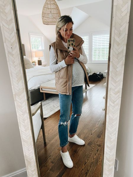 Abercrombie launched MATERNITY 👖!!! Fit runs tts to your normal size. Color I'm wearing: light medium ripped wash // Vest I'm in the small, but wish I went XS as it runs pretty oversized. Sneakers run tts   #LTKunder100 #LTKbump