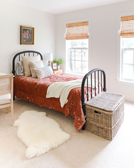 Updating our daughters bedroom from child to teenager. Vintage style black antique bed, vintage flower painting, wicker chest #target #vintagestyle #girlroom #teenroom #bedroom  #LTKhome #LTKfamily #LTKstyletip