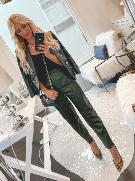 This Faux leather jacket and pants set is so gorgeous, chic, and perfect for fall - both pieces run tts, I'm wearing a 0 in the jacket and 00 in the pants   #LTKstyletip #LTKunder50 #LTKunder100