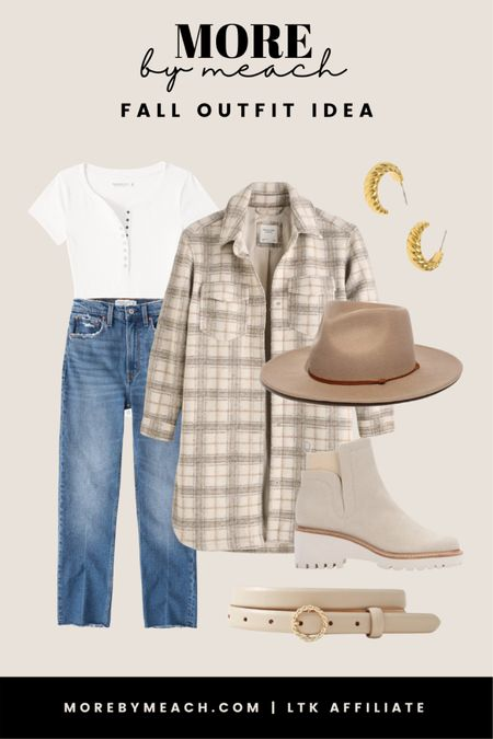 A cute plaid shacket outfit for a neutral fall look. 🤍 || Abercrombie jeans, white bodysuit, wide brim hat, gold earrings, nude booties, white leather belt, Madewell, neutral outfits   #LTKSeasonal #LTKstyletip #LTKSale