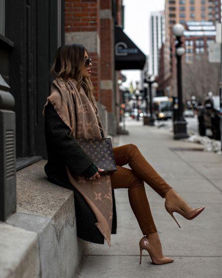 Fall outfit ideas for work / back to the office Green wool coat (linked similar) Joe's camel coated jeans Louis Vuitton shawl Christian Louboutin pumps    #LTKworkwear #LTKstyletip #LTKSeasonal