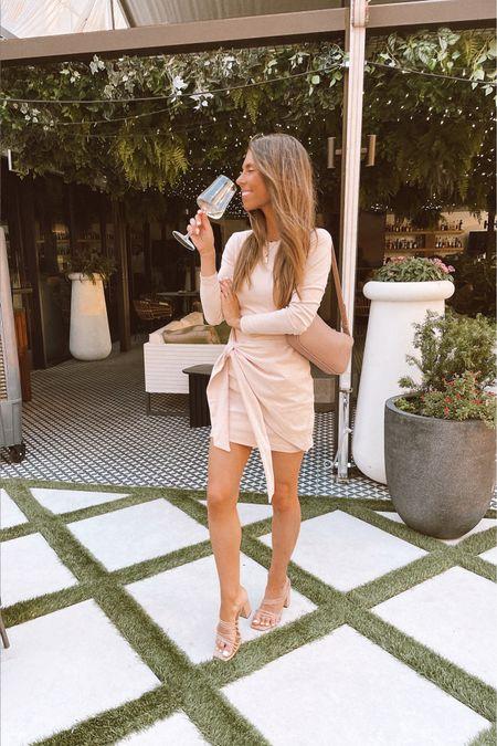 This dress sold out but found an identical option!! Wrap dress. Tie waist dress. Sandals are f21!  #LTKunder100 #LTKwedding #LTKstyletip
