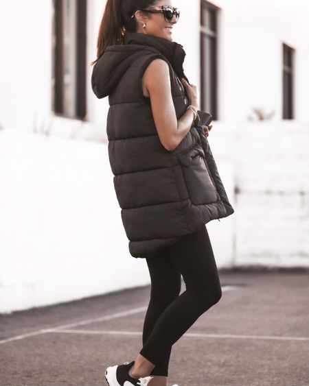 Wearing a size extra small vest, fall style, puffer vest, leggings, athleisure style, StylinByAylin   #LTKSeasonal #LTKunder100 #LTKstyletip