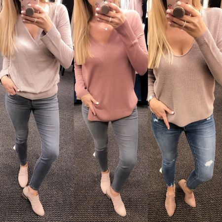 💗 Shades of Pink. 💗The blush trend is holding strong for fall! I may be a bit excited about that! I have a full review of my pics from the NORDSTROM ANNIVERSARY SALE ON THE BLOG!! Fashinablyjess.com (link in bio)  These prices are amazing! AlL NEW fall items are on sale and will go bank to FULL price after SALE! Left: Sweater ($ 44), Frame Jeans ($143), Blush Booties ($79)   Center: Sweater ($46), Frame Jeans ($143), Blush Booties ($79)   Right: Sweater ($ 26), Jeans ($45), Blush Booties ($79)  You can instantly shop my looks by following me on the LIKEtoKNOW.it app http://liketk.it/2wvAy #liketkit @liketoknow.it #LTKunder100 #LTKunder50 #LTKstyletip #LTKshoecrush #LTKsalealert #LTKitbag #LTKmens #LTKkids #LTKfamily #LTKbump #LTKbaby #LTKbeauty #LTKcurves #LTKfit #LTKeurope #LTKbrasil #LTKhome #LTKswim #LTKwedding