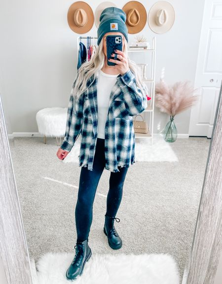 Obsessed with this oversized plaid jacket 🖤 wearing a size small!  . . . Shacket, plaid shacket, oversized shacket, beanie, combat boots, black combat boots, leggings, fall, fall outfit   #LTKstyletip #LTKunder50 #LTKSeasonal
