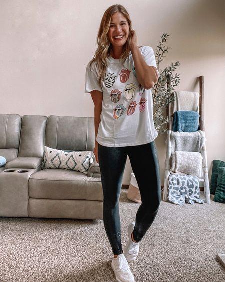 $13 Rolling Stones tee / Spanx faux leather leggings on sale! I wear xl tall / adidas leopard swift run Sneakers-size down 1/2 size
