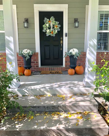 My Fall front porch in all its glory! 🍁 the Autumn decor makes me happy every time I walk up to my front door. :) I had big plans of  Cascading  dozens of pumpkins going down the steps and having corn stocks flanking each side of the door but, in reality, It just didn't happen # momlife I think it looks pretty darn good considering I'm constantly running on fumes these days 🙈 #reallife Who's with me on this one?! 😂 #momof4   Screen Shot this picture and shop all my porch finds on the app @liketoknow.it  .......................................................................................  http://liketk.it/2FBYV #liketkit #LTKunder50 #LTKhome #LTKfamily @liketoknow.it.family @liketoknow.it.home