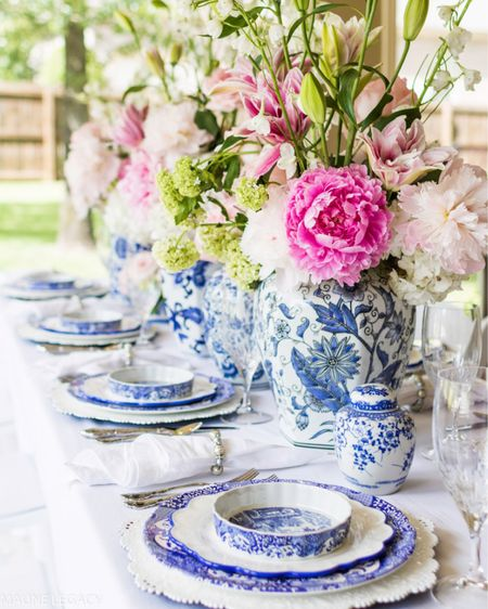 Summer table setting, blue and white table setting, tablescape, outdoor dining, dining room ideas. #liketkit @liketoknow.it http://liketk.it/3jdCG @liketoknow.it.home