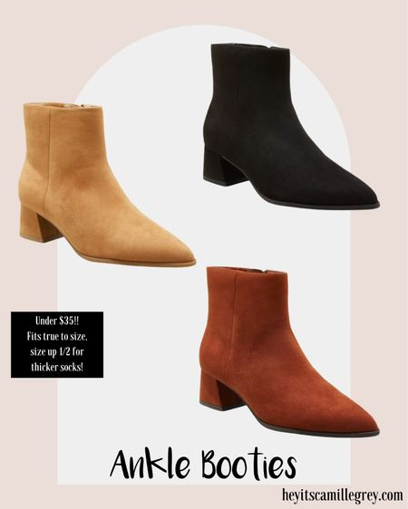Target ankle booties under $35! Cognac, light brown and black. Size up 1/2 for thicker socks or if in between sizes. These are so perfect for fall time and would look cute with dresses, jeans or shorts too!  #LTKstyletip #LTKshoecrush #LTKunder50