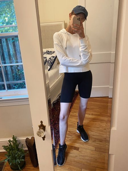 Sporty chic outfit bike shorts & a cropped hoodie!   #LTKunder50 #LTKunder100 #LTKfit