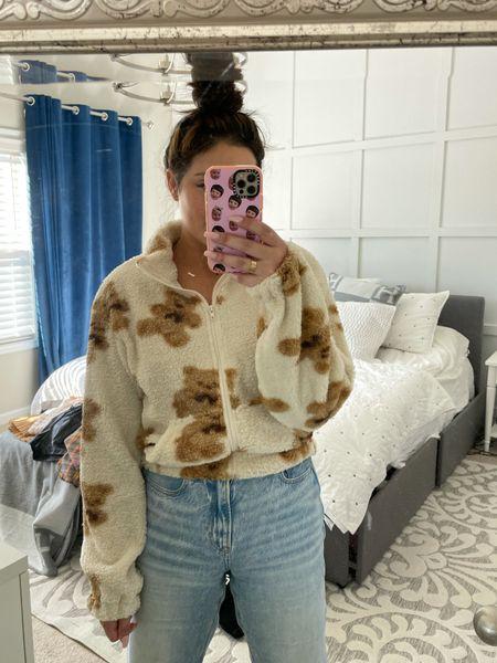 Teddy bear Sherpa fuzzy jacket   #LTKunder100 #LTKunder50