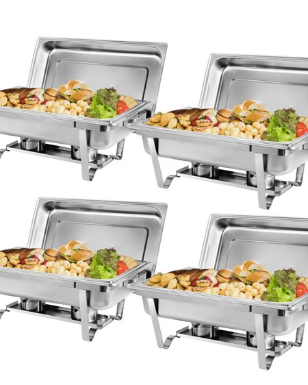 4 Pack of 8 Quart Stainless Steel Chafer Full Size Chafer Chafing Dish Buffet Set W/Water Pan, Food Pan, Fuel Holder and Lid For Catering Warmer Set  http://liketk.it/3j93H #liketkit @liketoknow.it #LTKsalealert #LTKwedding #LTKhome @liketoknow.it.home