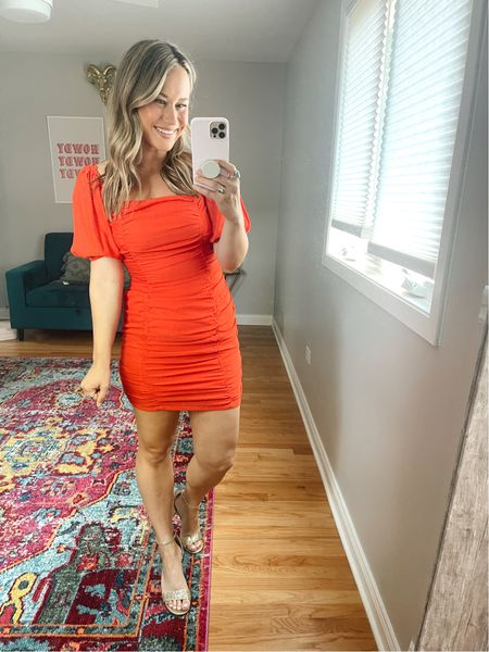 This little red dress is the perfect night out dress or date night dress for summer! And these gold glitter heels are an amazon find!   #LTKshoecrush #LTKstyletip #LTKsalealert