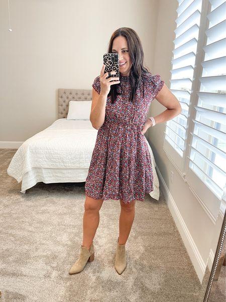 Fall floral dress // TTS // Amazon find  Style with booties, sneakers or heels    #LTKstyletip #LTKshoecrush #LTKSeasonal