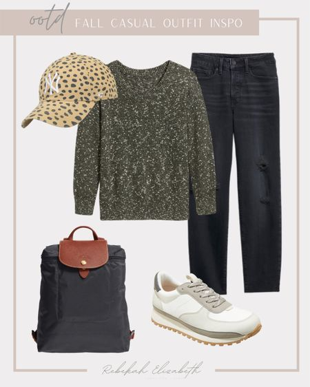 OOTD Fall casual outfit inspo | Le Pliage backpack • New York Yankees cheetah print baseball hat • white and tan sneakers • oversized v neck tunic sweater • high waisted black cut off jeans | #rebekahelizstyle  #LTKstyletip #LTKSeasonal #LTKcurves