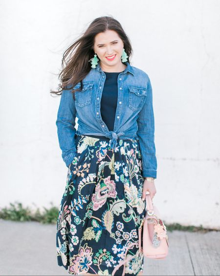 This spring, I have decided to purchase only a few statement pieces and try to work with items that I already have. Take this outfit for example. There are three new things added to this lineup, the earrings, skirt, and handbag (and one of these items is rented). http://liketk.it/2vbYN #liketkit @liketoknow.it
