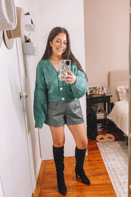 Goodnight macaroon try on haul — CAREY40 for 40% off!  Cardigan Faux leather shorts Fall outfits   #LTKsalealert #LTKunder50 #LTKSeasonal