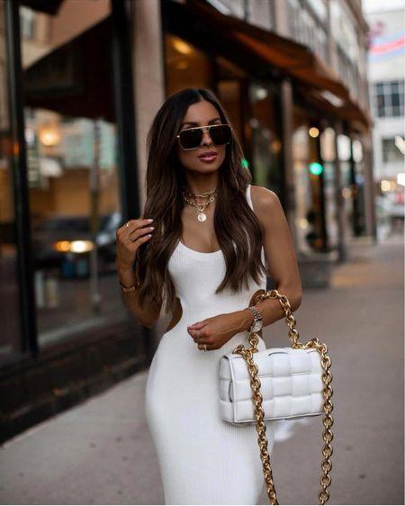 Date night  Abercrombie white knit dress wearing an XXS Bottega Veneta the chain cassette bag Bottega Veneta sunglasses   http://liketk.it/3i7hj #liketkit @liketoknow.it    #LTKitbag #LTKstyletip #summerdress