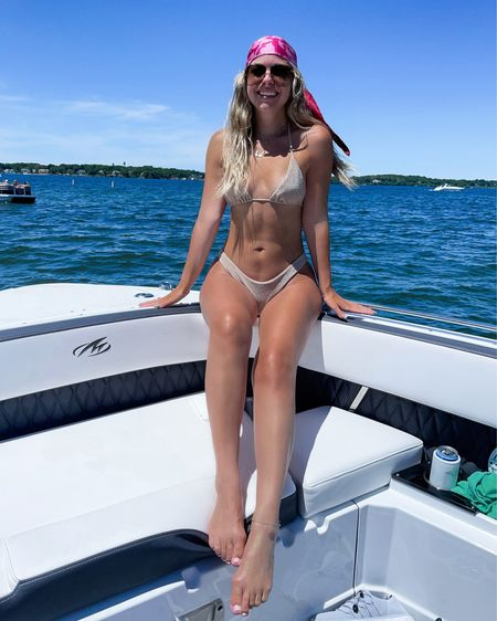 Tan nookie sparkle bikini bathing suit swimwear swimsuit gucci hair scarf and sunglasses  In my usual smalls  http://liketk.it/3i0ze 1  #liketkit @liketoknow.it #LTKswim #LTKtravel #LTKfit