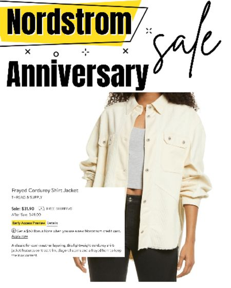 """Nordstrom anniversary sale finds!   How amazing is this Thread & Supply shirt jacket? Such a trendy """"shacket"""" for the summer and fall. It can transition perfectly from the day to the night by rolling down the sleeves.   Such a fun, light neutral top for layering pieces on a summer night!   🧡🧡🧡 Shirt jacket, shacket, neutral jacket, summer layers, summer layering, thread and supply, Nordstrom, Nordstrom anniversary sale, sale finds  #LTKunder100 #LTKsalealert #LTKSeasonal"""