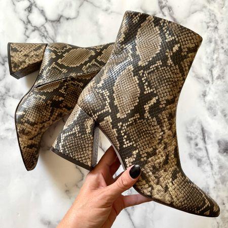 Snakeskin ankle boots - yes please #boots #fallboots #falloutfits   #LTKSeasonal #LTKstyletip #LTKshoecrush
