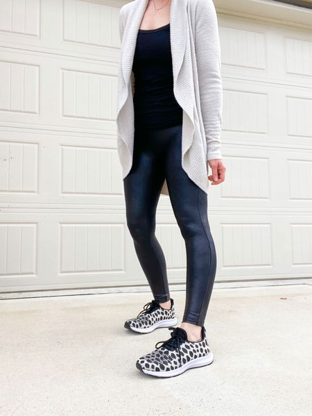 Leggings and cardigan part of the Nordstrom anniversary sale!  Wearing smallest size in cardigan - true to size  Spanx faux leather leggings in small petite - if between sizes, go up.     Nordstrom, nordstrom anniversary sale, SPANX faux leather leggings, barefoot dreams cardigan  #LTKsalealert #LTKunder100 #LTKSeasonal