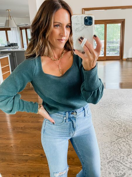 Ribbed square neck sweater. Love the wrist detail too. Part of the LTK app sale.  Fall style ideas. @madewell  Size XS, 3 colors  #LTKSale #LTKunder50 #LTKstyletip