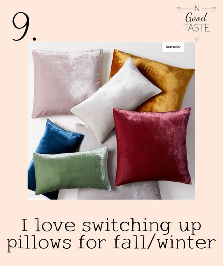 Colorful velvet pillows for a cozy fall and winter sofa!  #LTKhome #LTKsalealert #LTKstyletip