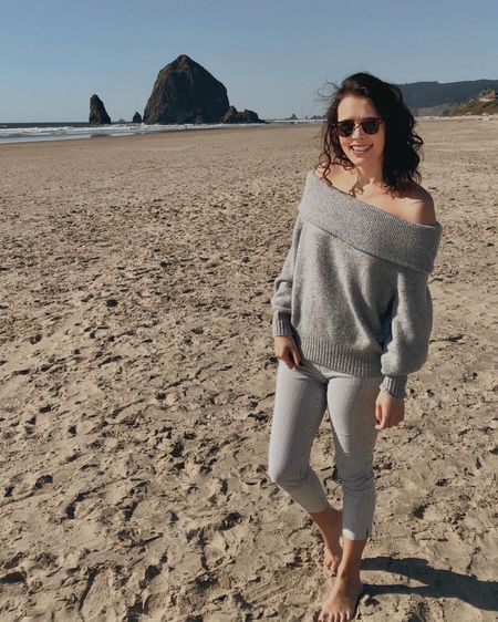Casual chic spring style for a beautiful beach day at the Oregon Coast! 🏖 The weather was comfortable but breezy, so I styled this cozy off the shoulder sweater with beige striped pants. Linked similar options in the @liketoknow.it app!  http://liketk.it/3d076 #liketkit #LTKstyletip #LTKtravel #CasualChic #SpringStyle #CozyStyle #LTKunder100
