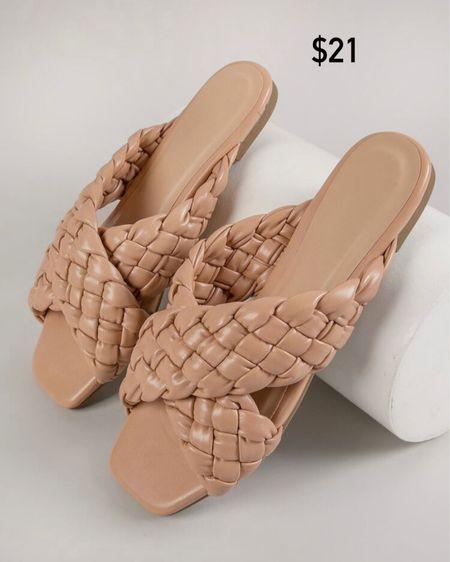 Braided Faux Leather Square Toe Slip-On Sandals / Shein / summer sandals / trends http://liketk.it/3jcXR #liketkit @liketoknow.it #LTKunder50 #LTKshoecrush #LTKstyletip