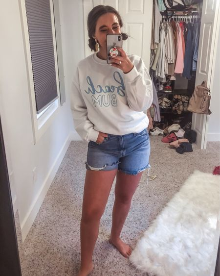 Welcome back summer... we missed you. Beach bum sweatshirt is $35 and denim shorts are $50. Very flattering and comfortable! http://liketk.it/3gqUP #liketkit @liketoknow.it You can instantly shop all of my looks by following me on the LIKEtoKNOW.it shopping app #LTKunder50 #LTKstyletip #LTKunder100